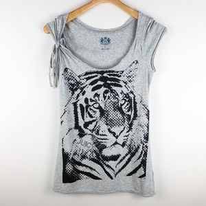 Juicy Couture Tiger Short Sleeve Gray Tee Shirt S